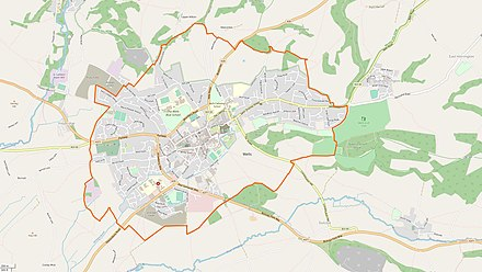 Map of Wells showing city/parish border, and urban area. City/parish border Countryside Urban area Wells-parish-map.jpg
