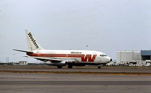 Western Airlines Flight 470 - A Boeing 737 of Western Airlines, sister ship to the aircraft which crashed