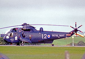 HMS Blake (C99) - A Westland Sea King HAS.2 of 820 Naval Squadron wearing the 'BL' code of HMS Blake in 1977