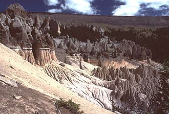La Garita Caldera - Volcanic ash formations of La Garita Caldera, looking northeast (Wheeler Geologic Monument).