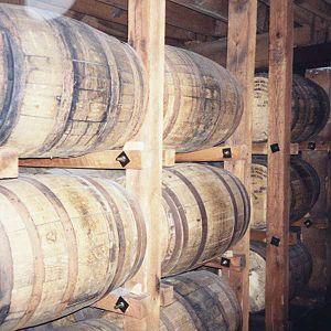American whiskey - Bourbon whiskey aging in charred new oak barrels at the Jack Daniel's distillery