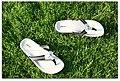 White flip flops with black straps.jpg