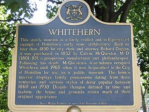 Whitehern - Whitehern museum plaque