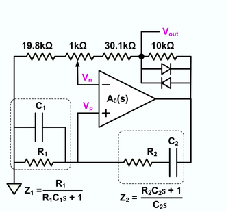 Wien bridge oscillator - Schematic of a Wien bridge oscillator that uses diodes to control amplitude.  This circuit typically produces total harmonic distortion in the range of 1-5% depending on how carefully it is trimmed.