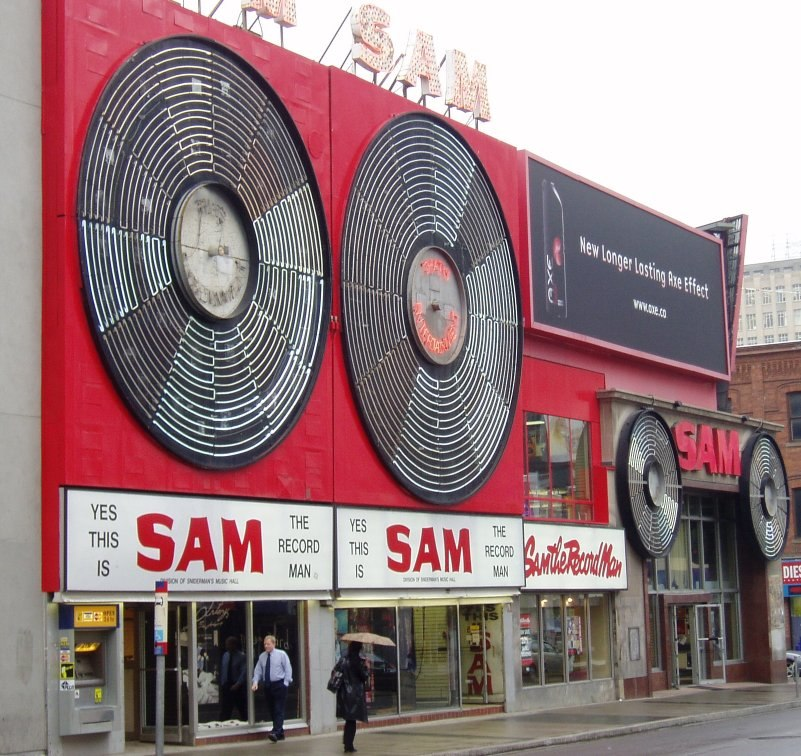 The now-defunct and demolished Sam the Record Man, formerly located at Yonge and Gould Streets