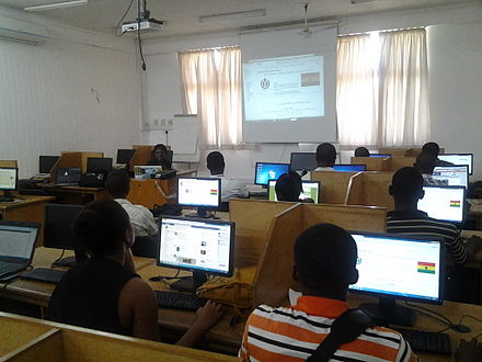 Ghana education system's implementation of information and communications technology at the University of Ghana Wikimedia Outreach in Ghana 6.jpeg