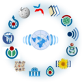 Wikimedia logo family complete - Wikinews centered.png