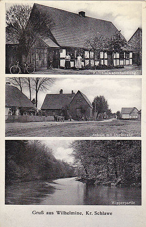 Wilkowice, West Pomeranian Voivodeship - Wilkowice (German: Wilhelmine).Postcard from the early 20th century.Postcard shows: grocery store;school and village road; river Wieprza. Publisher: Willy Schröder, Photograph,Stolp i Pom.