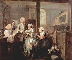 Fifth painting of A Rake's Progress: Married To An Old Maid, 1732–1734