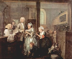 St Marylebone Parish Church - The marriage scene from A Rake's Progress by William Hogarth, showing the interior of the second St Marylebone church. Sir John Soane's Museum, London
