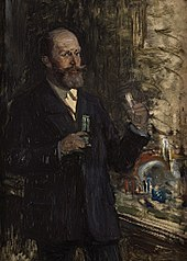 Portraitstudie Emil Fischer, Chemiker und Nobelpreisträger. Entwurf zu dem verschollenen Gemälde \
