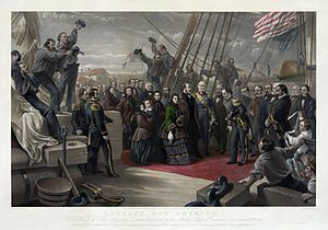 Resolute desk - Queen Victoria visits HMS Resolute, December 16, 1856, the day before the ship was granted to her as a good will gesture.