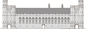 Zeichnung der Vorderseite eines Schlosssaals mit zwei Türmen an beiden Enden und einer Reihe hoher Fenster, die mit der Mitte verlaufen.  Die Zeichnung ist in Grautönen gehalten.