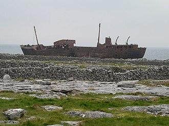 MV Plassy - Image: Wreck of the 'Plassy'. Inisheer geograph.org.uk 289299