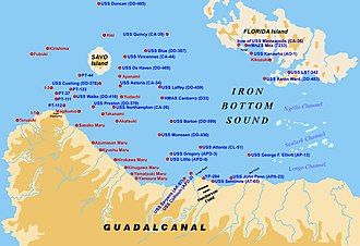 Ironbottom Sound - Map of the location of shipwrecks in the Ironbottom Sound