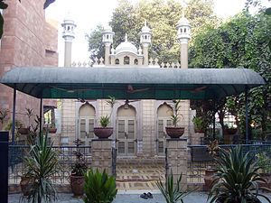Rabwah - Yadgar Mosque, the first mosque of Rabwah. There are many other mosques that were built by Ahmadis in Rabwah prior to this mosque. This is believed to be the spot where the Ahmadis had their first congregational prayers salat in Rabwah. Pakistani Law no longer allows Ahmadis to use the term 'mosque'.