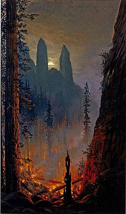 Yosemite (Forest Fire in Moonlit Landscape) by Jules Tavernier