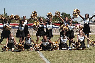 Pom-pom - Cheerleaders using pom-poms during an American football halftime show