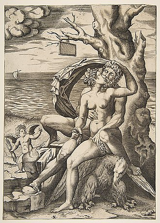 Semele (Handel) - Zeus and Semele embracing, 18th century engraving