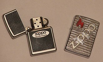 Lighter - Two Zippo lighters, one open, one closed