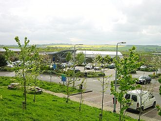 Oxford services - Overlooking the car park at the main buildings.