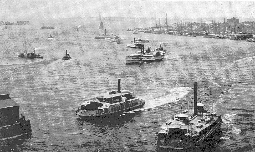 (King1893NYC) pg081 NEW YORK HARBOR, FROM EAST-RIVER BRIDGE (IN 1893)