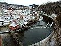 Český Krumlov, pohled na Staré město od zámku z vyhlídky.jpg