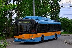 Trolleybuses in Sofia - An Škoda Solaris 26Tr trolleybus in Sofia, 2016.