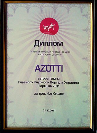 Azotti - The award Azotti received for the Best Track that became the anthem of Ukrainian rating and portal Topdj.ua