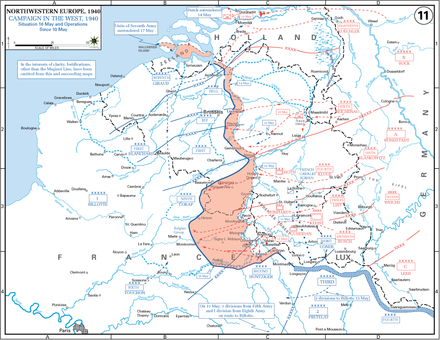 The German advance until noon, 16 May 1940 10May 16May Battle of Belgium.PNG