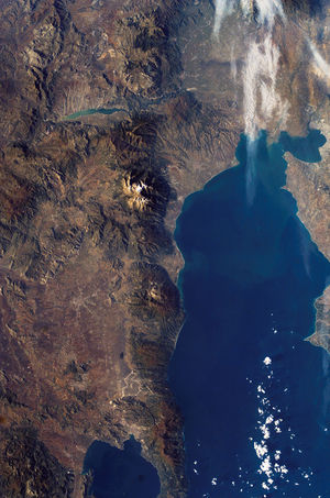 English: Satellite picture of the Mount Olympu...