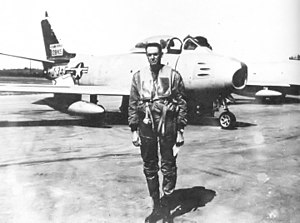 144th Airlift Squadron - 144th Fighter Interceptor Squadron – North American F-86E-10-NA Sabre 51-2845.  The pilot, W.S. Elmore, later became the Alaska State Adjutant General.