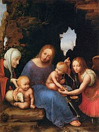 16th-century unknown painters - Virgin and Child with Sts Elizabeth, John and Michael - WGA23946.jpg