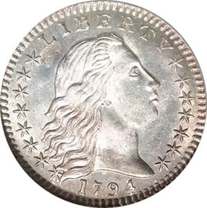 "Half dime - The 1794 ""Flowing Hair"" half dime, obverse"