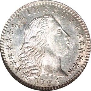 "Half dime - The 1794 ""Flowing Hair"" half dime, obverse"
