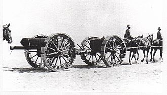 Sinai and Palestine Campaign - 18-pounder gun with sand wheels, Suez Canal Defences 1916