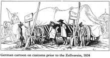 """Un chariot se trouve entre deux barrières douanières. Les deux douaniers s'observent attentivement. Deux panneaux indiquent de chaque côté """"Lippe Schaumburg"""", montrant le ridicule de la situation."""
