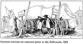 "drawing of a wagon loaded with barrels, covered with a tarp, stuck between two border signs, the driver paying a fee to cross. Caption reads ""German cartoon on customs prior to the Zollverein, 1834""."