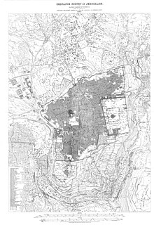 A detailed technical ordnance survey map of Jerusalem from the 19th century