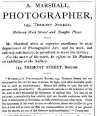 1868 A Marshall photographer advert 145 Tremont Street in Boston USA.png