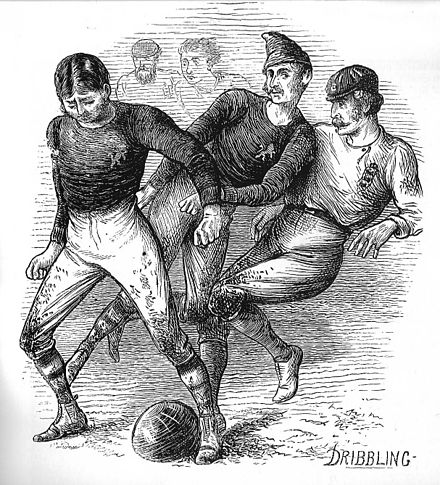 Drawing of the first international game by artist William Ralston 1872 engl v scotland ralston.jpg