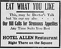 1910 - Hotel Allen Newspaper Ad2 Allentown PA.jpg