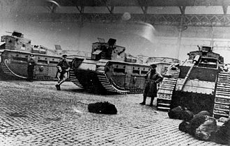Red Clydeside - Medium Mark C tanks and soldiers deployed to the city (31 January 1919)