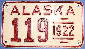 Vehicle registration plates of Alaska - Image: 1922 Alaska Passenger License Plate