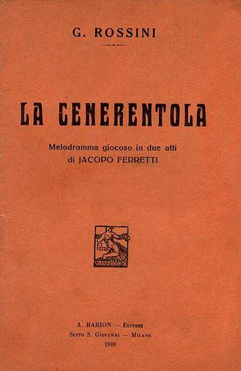 """Italiano: Copertina libretto """"La Cenerent..."""