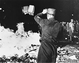 Historical negationism - A Nazi-sponsored book burning meant to negate the value of Germany's literary history (10 May 1933, Berlin).