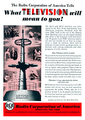 Television - Ad for the beginning of experimental television broadcasting in New York City by RCA in 1939