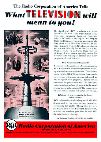 Ad for the beginning of experimental television broadcasting in New York City by RCA in 1939 1939 RCA Television Advertisement.jpg