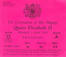 ticket for the stands erected alongside the coronation procession ...