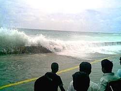 The tsunami that struck Malé in the Maldives on December 26, 2004.